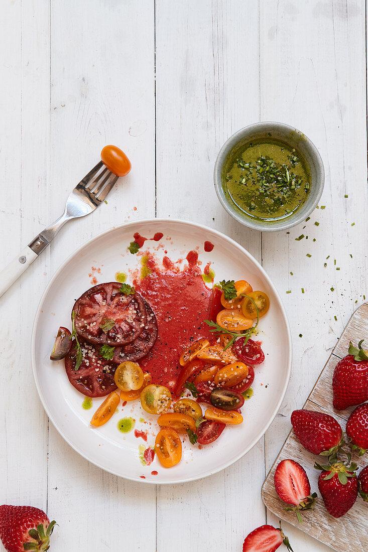 A colourful tomato salad with strawberry vinaigrette