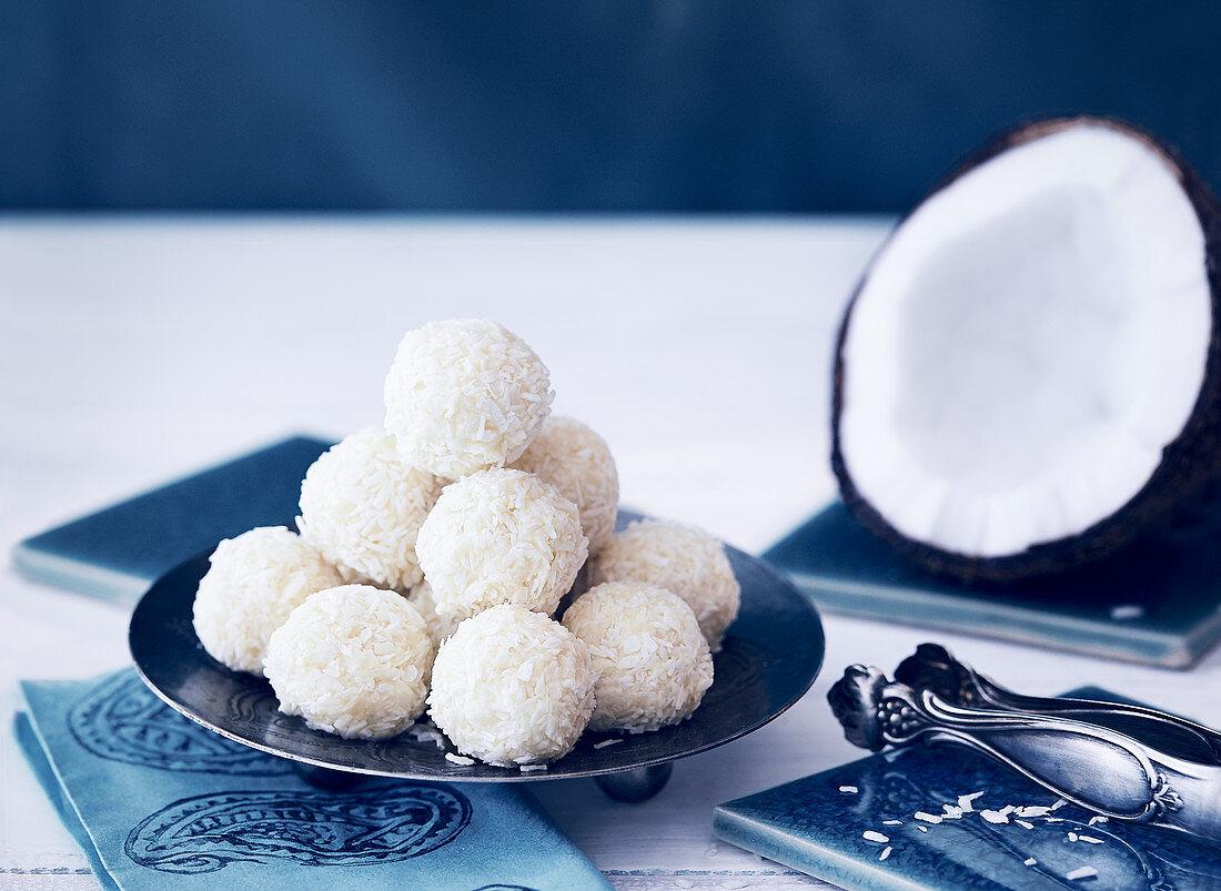 Laddu (Indian dessert) with desiccated coconut