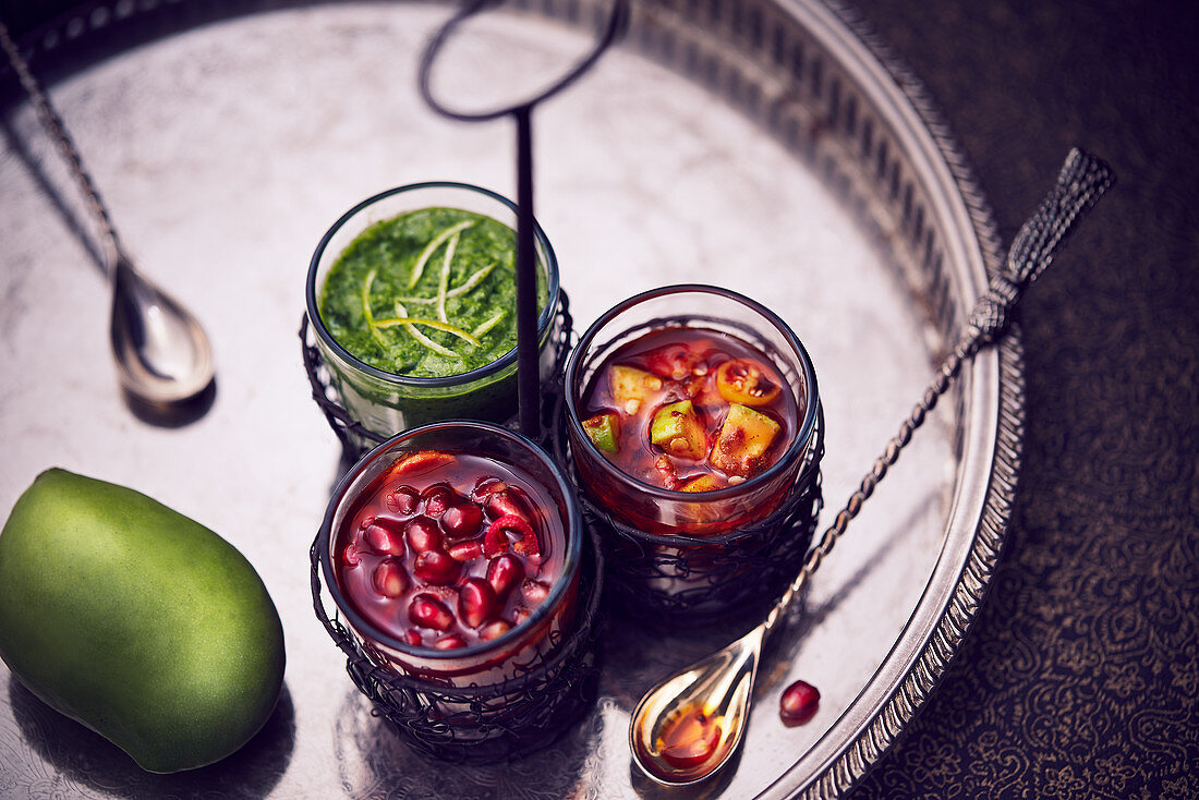 Pickle variants with mango, pomegranate and coriander