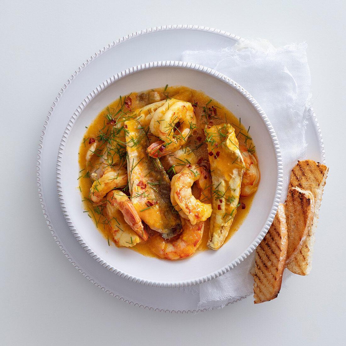 Gurnard with shrimp, fennel and saffron