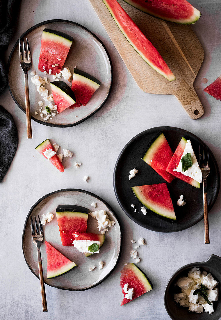Watermelon with feta