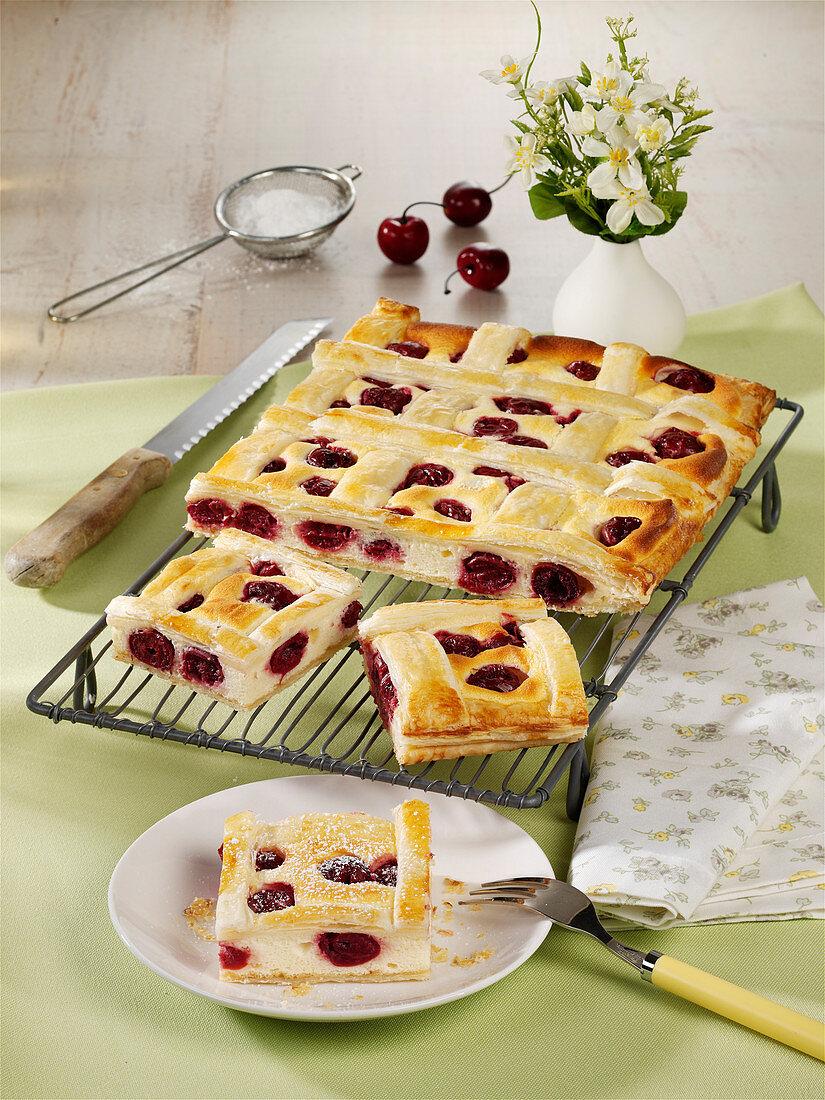Puff pastry cherry cake