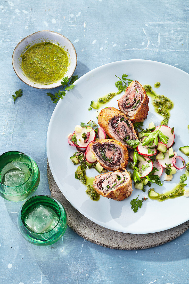 Veal involtini with pancetta and olive paste