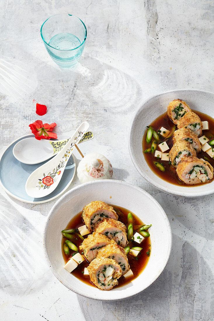 Prawn tofu leaf rolls in a mirin and miso broth