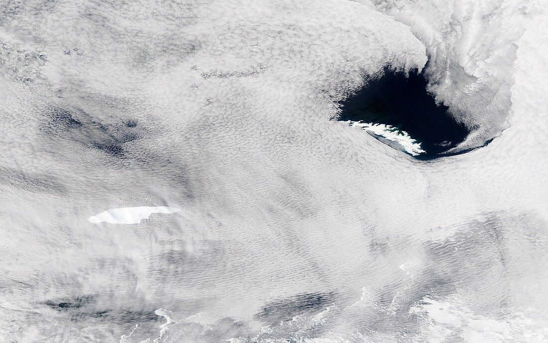 Iceberg A68a approaching South Georgia, satellite image