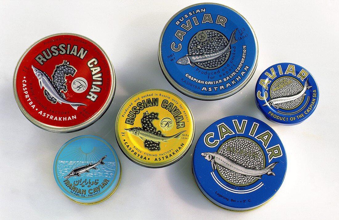 Tins of Russian and Iranian caviar