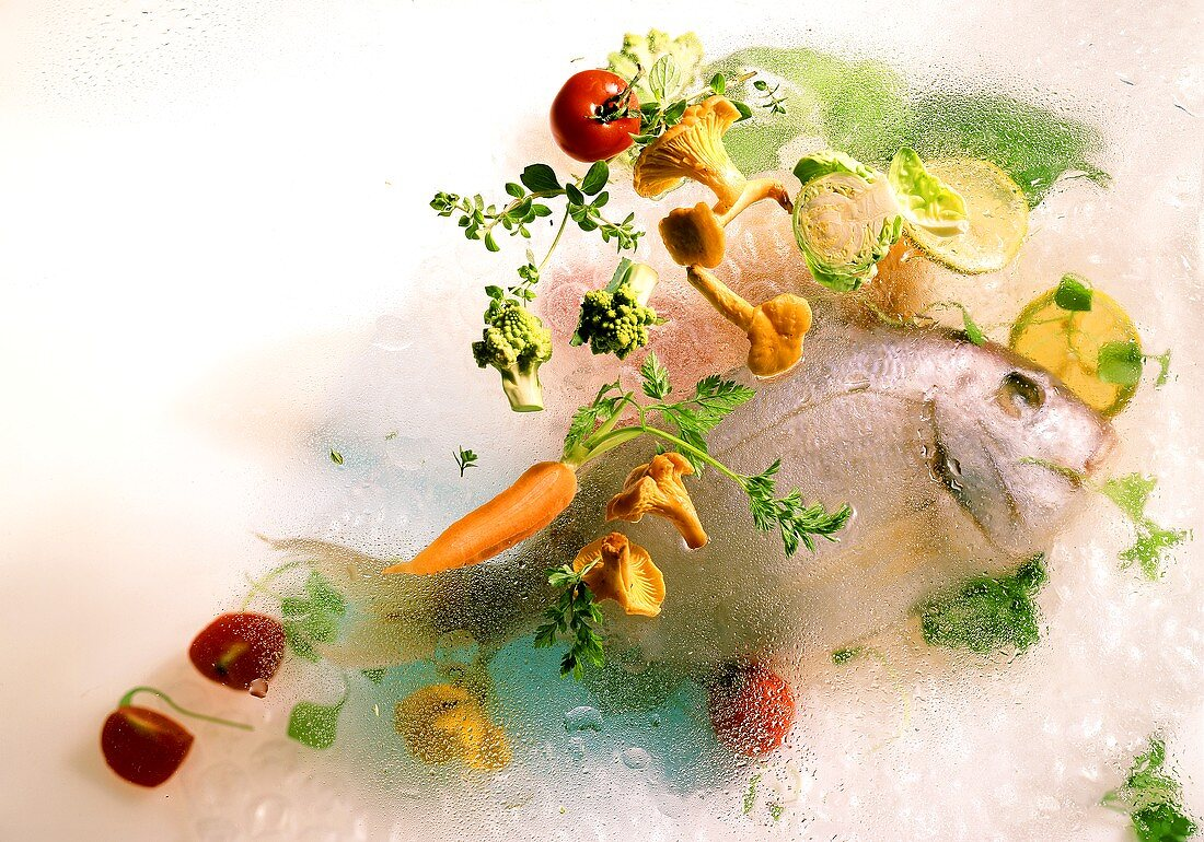 Gilt-head bream & vegetables under & on glass; drops of water