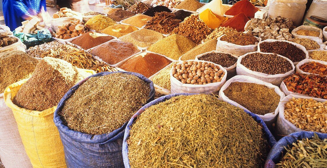 Various spices in sacks at the market in Morocco