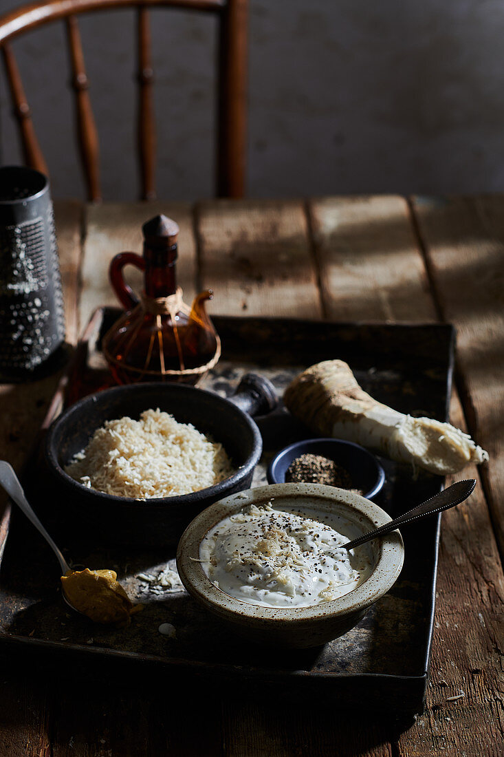 A dip made from freshly grated horseradish