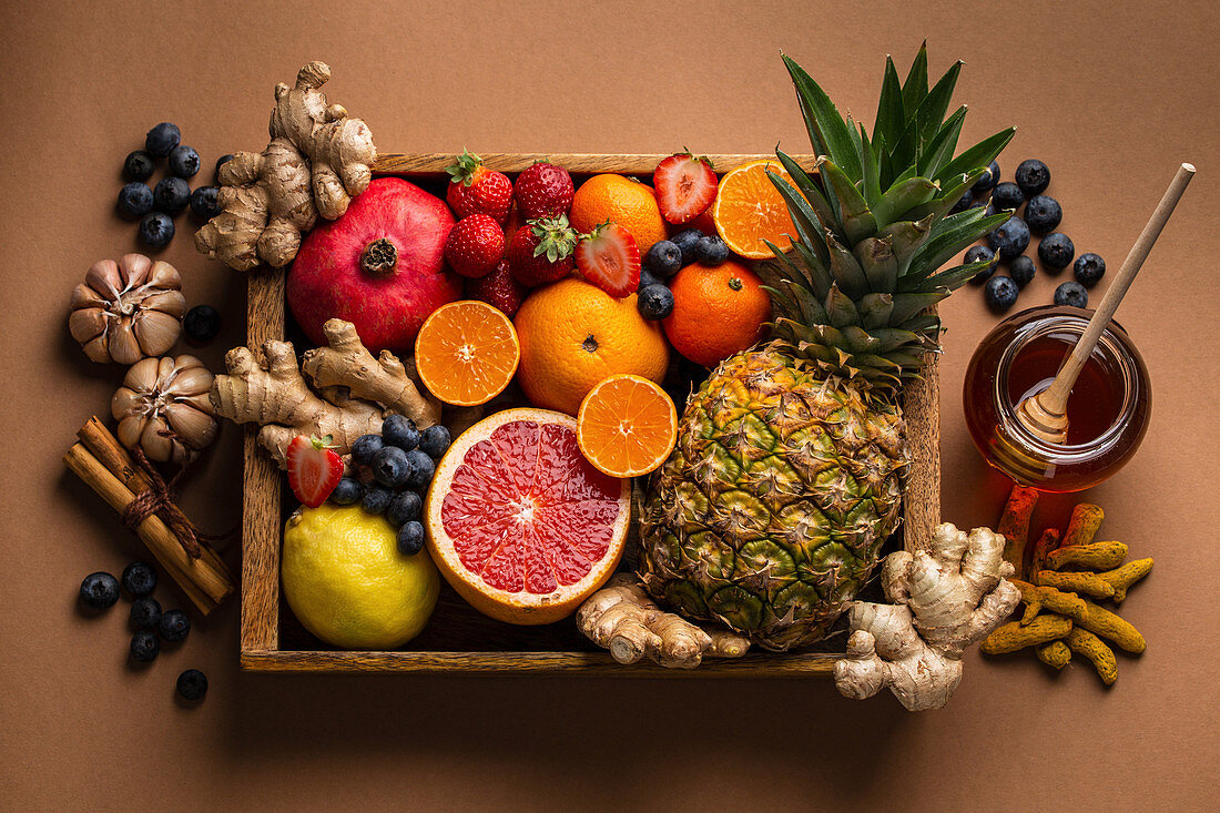 Selection of fresh fruit with vitamin C and natural ingredients to boost immune system