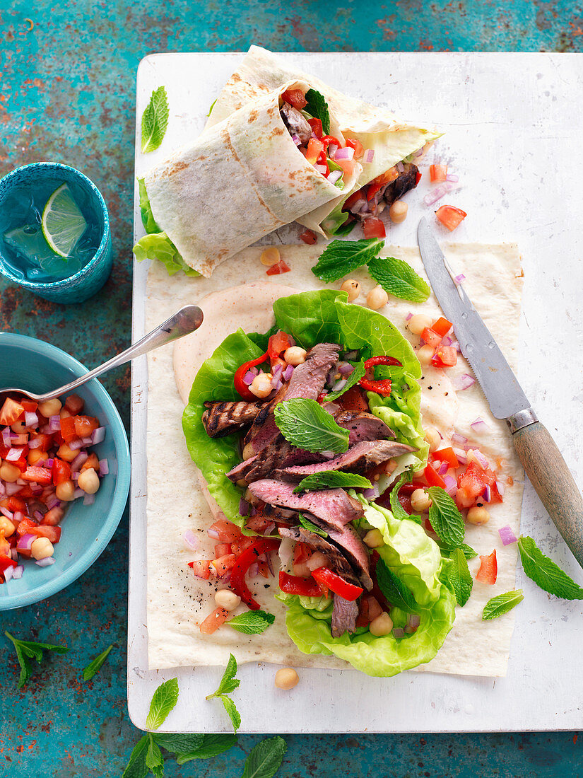 Moroccan Lamb and Chickpea Wraps