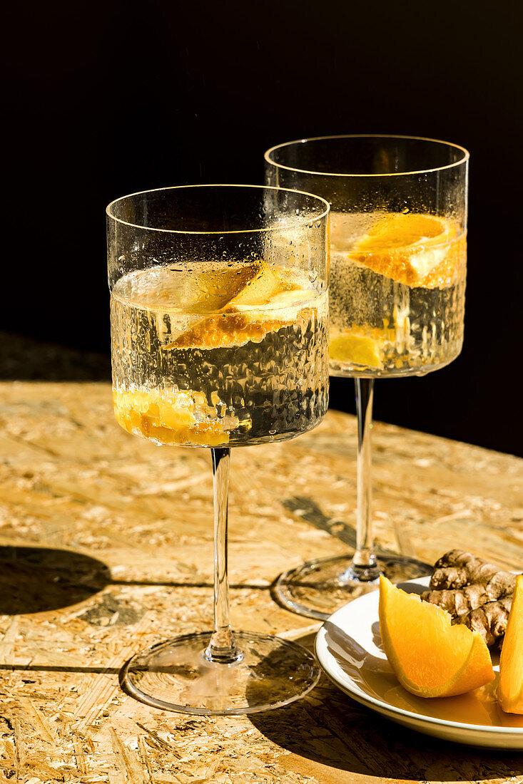 Orange ginger tonic water drink