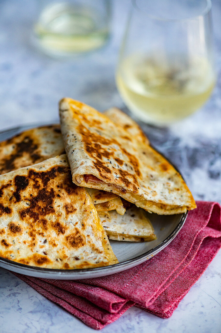 Quesadilla with cheese and bacon