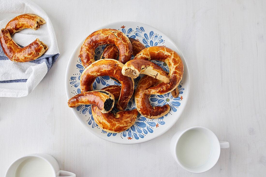 Bratislavské rozky, crescent-shaped dessert filled with poppy seed or nut filling