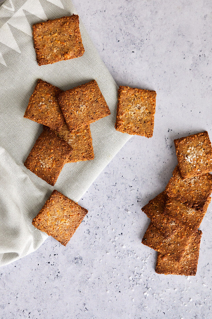 Homemade crackers without flour, made from almond