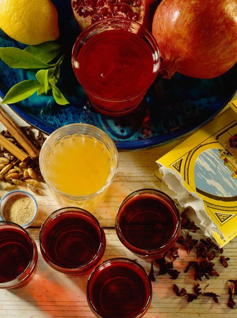 Arabic drinks, pomegranate juice, spiced tea, hibiscus drink