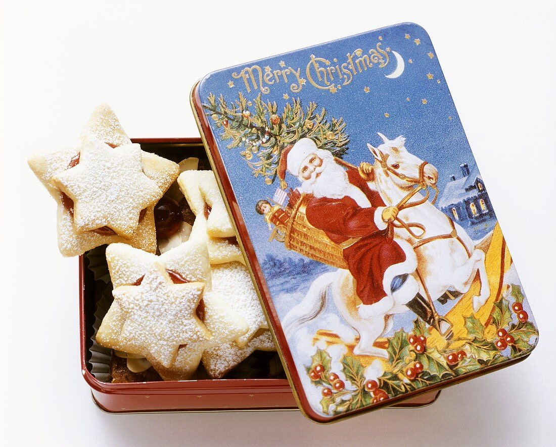 A Box Full of Star Shaped Christmas Cookies