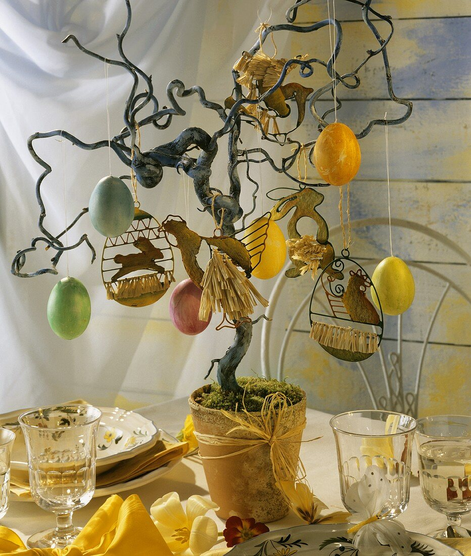 Easter tree (corkscrew willow in flower pot with Easter eggs)