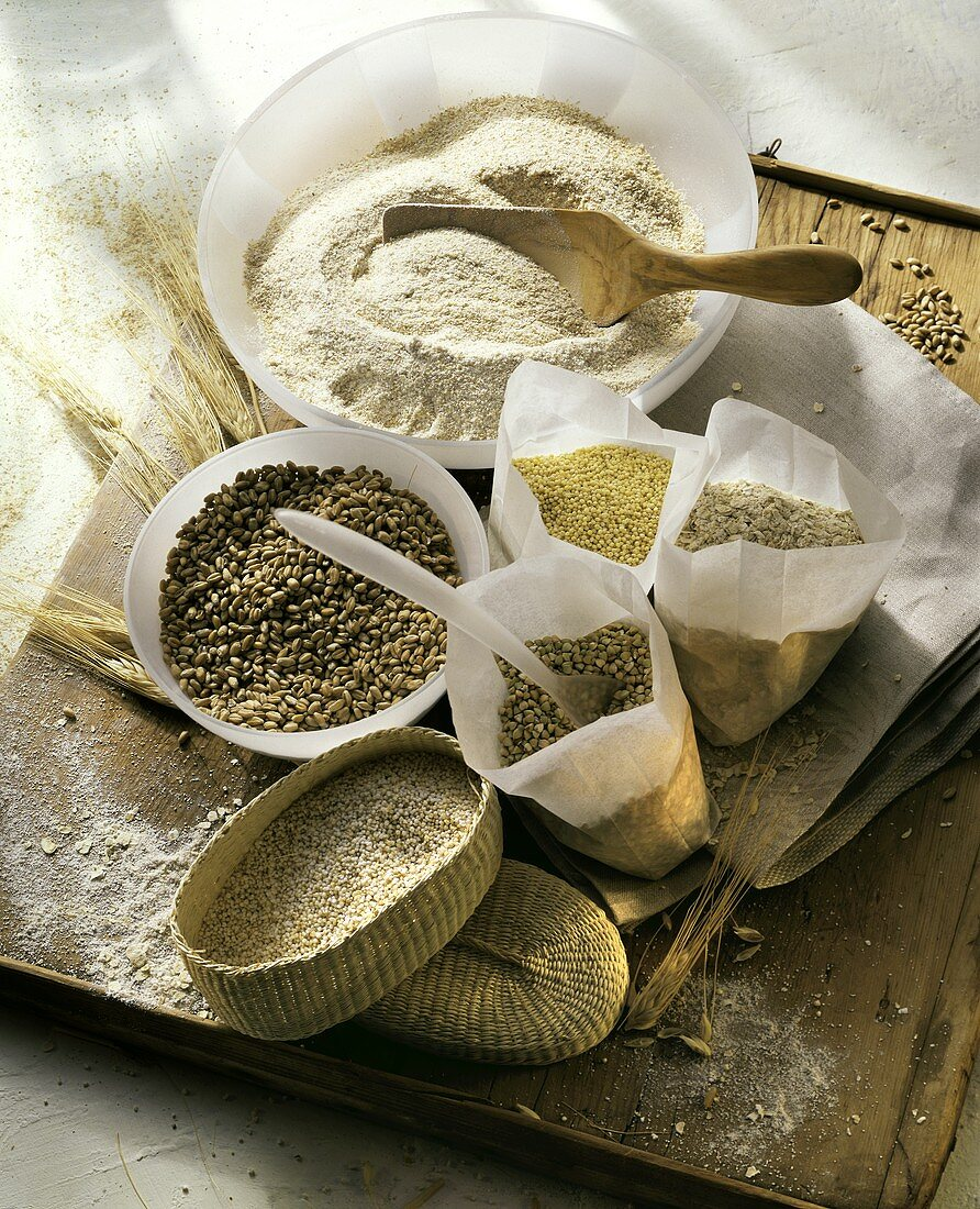 Still life with various types of grain & wholemeal flour