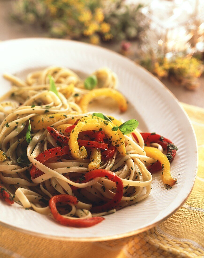 Pasta with peppers and herbs