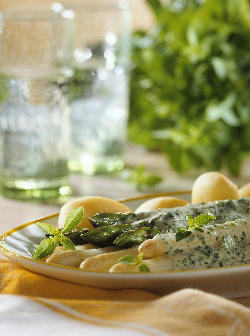 Two kinds of asparagus with herb sabayon & jacket potatoes