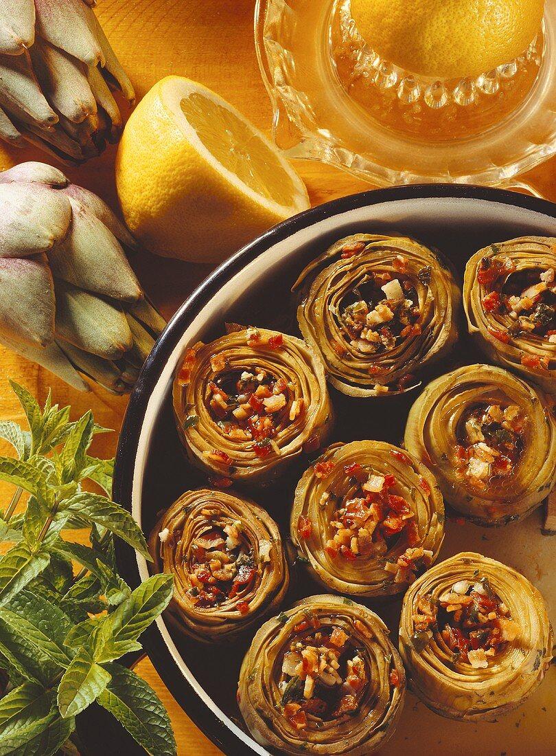 Carciofi alla romana (Artichokes with bacon & mint, Italy)