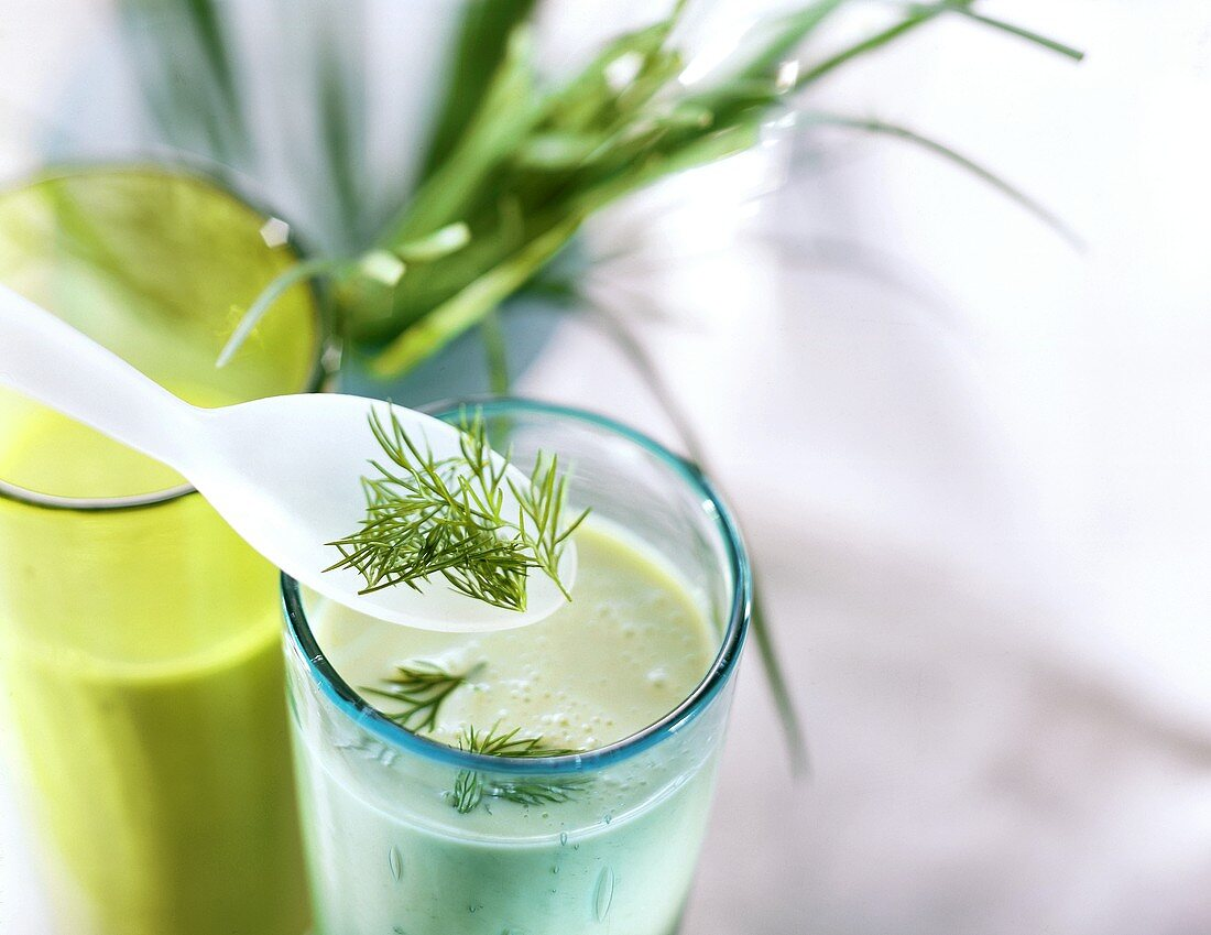 Green card cocktail (kefir lime herb drink with avocado)