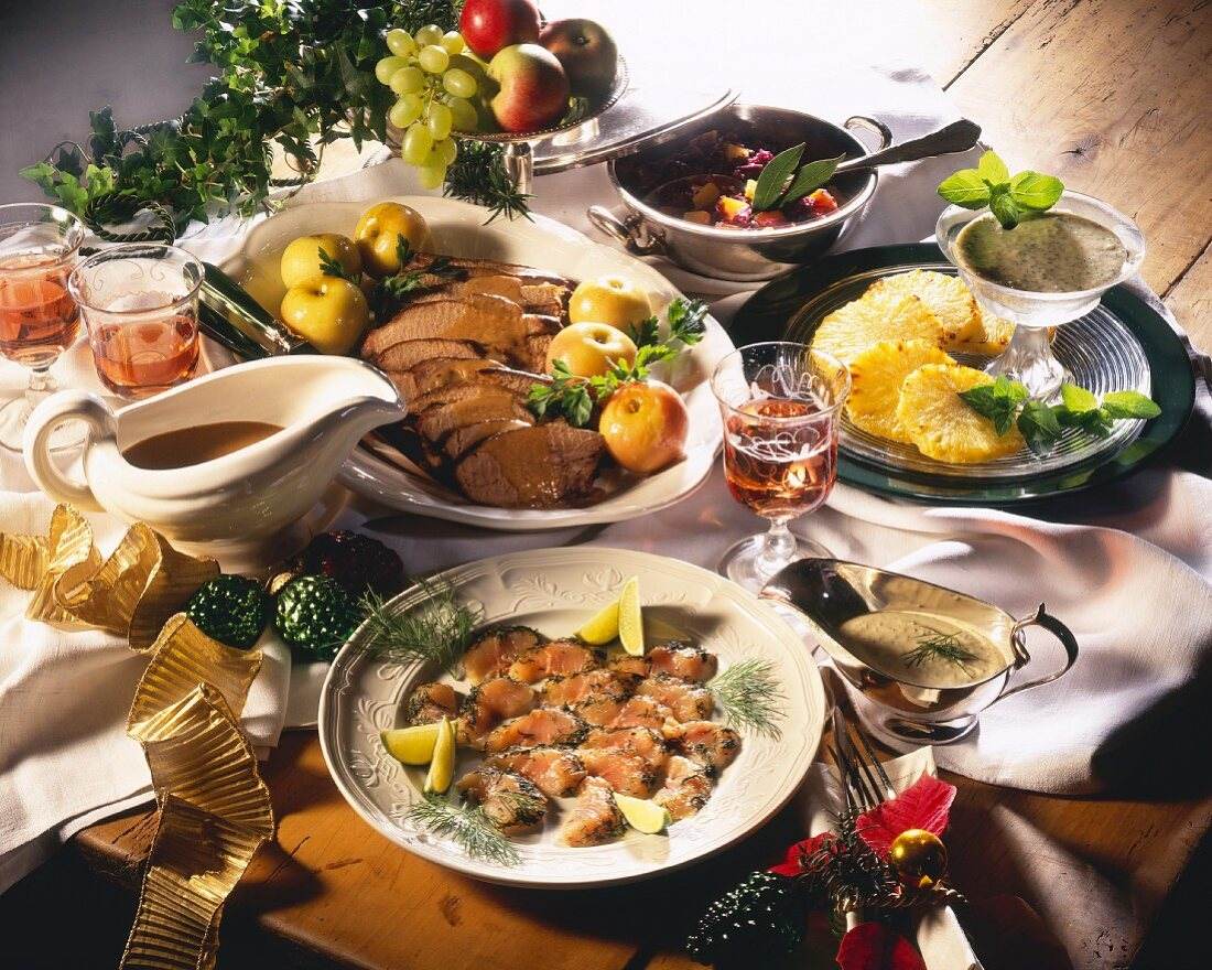 Christmas menu with fish, roast wild boar and pineapple