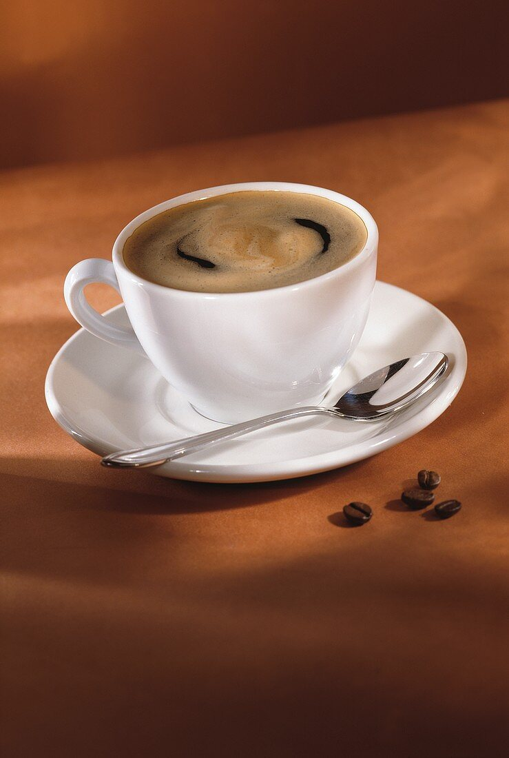 A Cup of Coffee with Swirling Cream