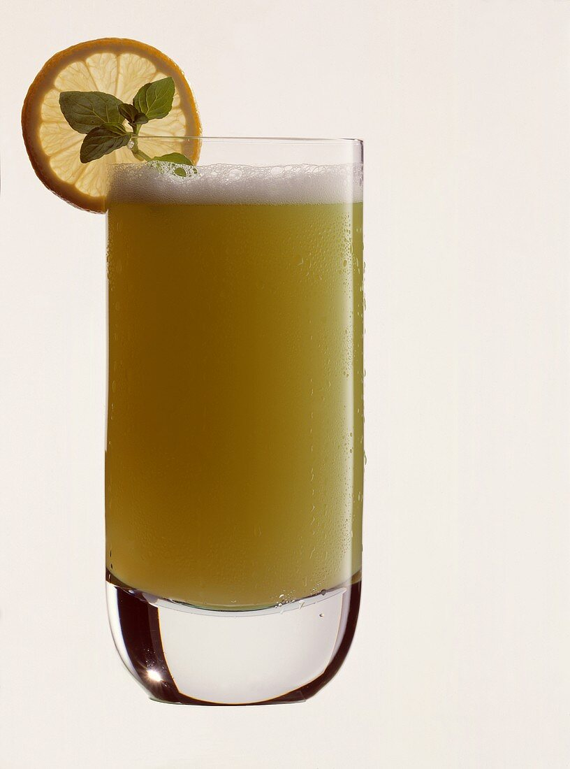 Miami (non-alcoholic pineapple and mint cocktail) in glass