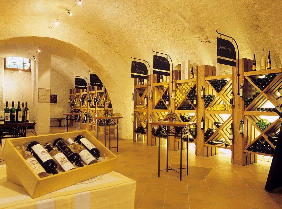 View into ceremonial cellar of the Althof Retz Hotel, Austria