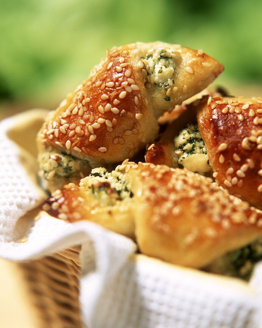 Potato crescents with sesame and sheep's cheese filling