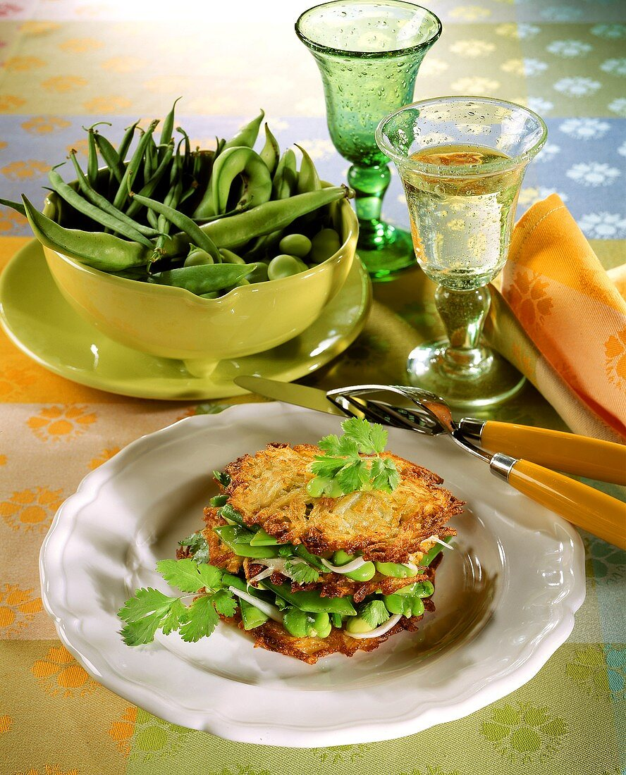 Layered potato rosti & spring vegetable flan