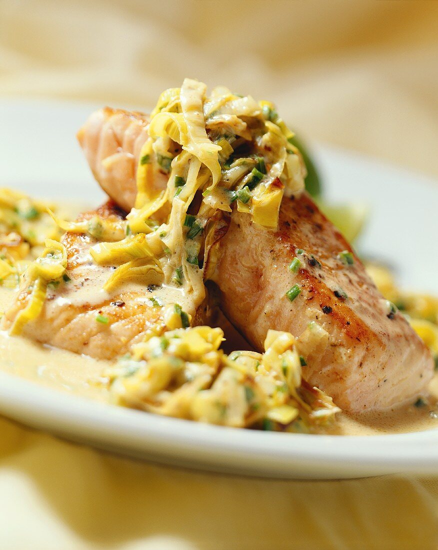Fried salmon trout with chicory