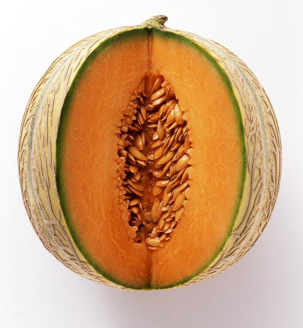 A Sliced Cantaloupe Melon