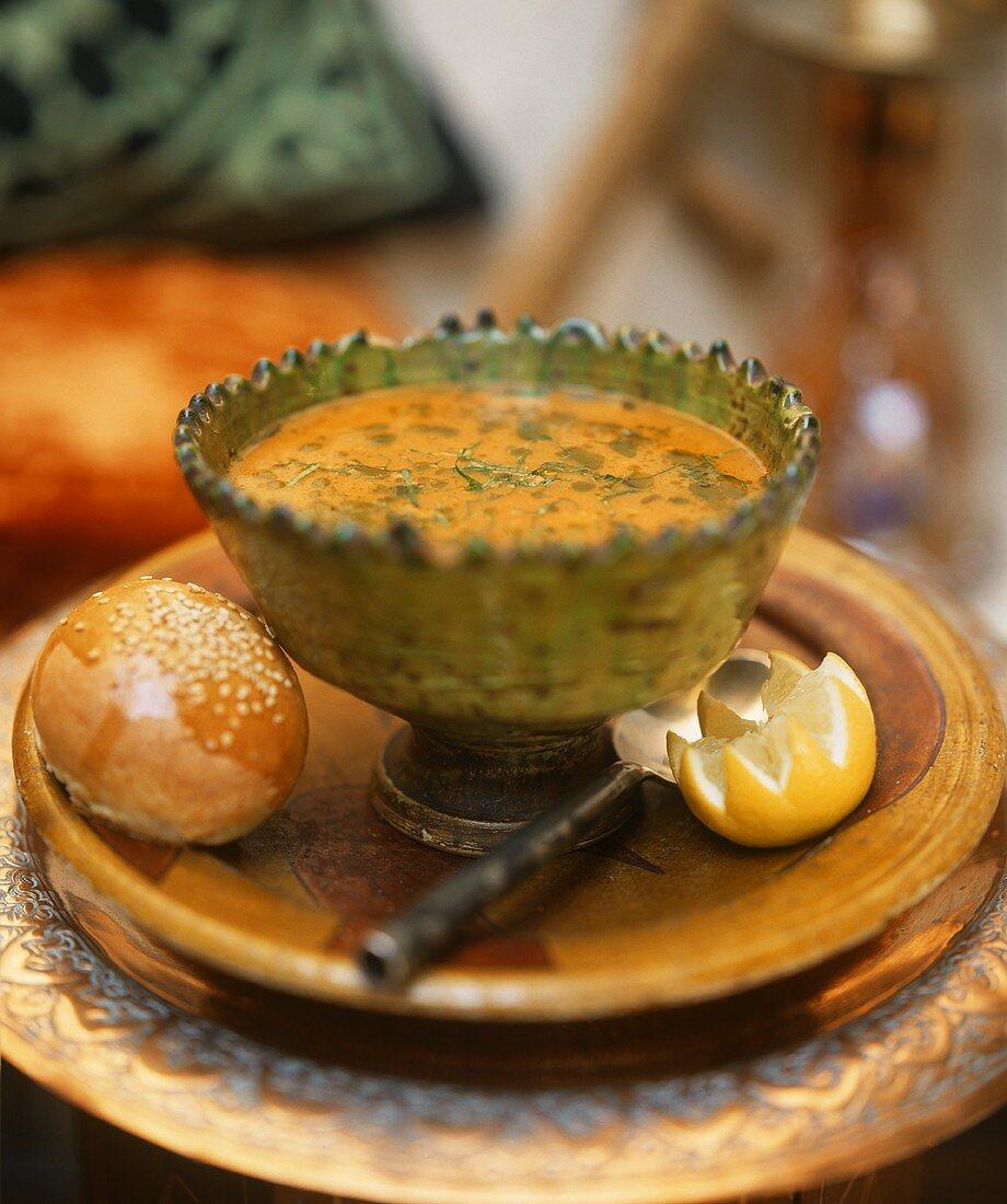 Chorba frik (Algerian crushed wheat soup with lamb)