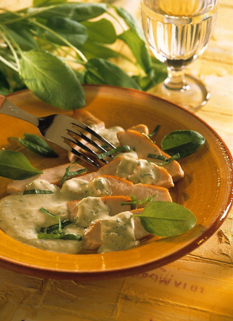 Chicken breast fillet with sorrel sauce