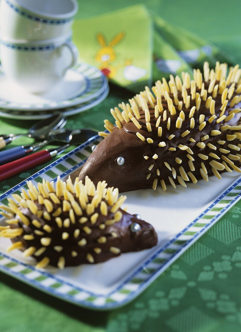 Chocolate hedgehog with slivered almonds