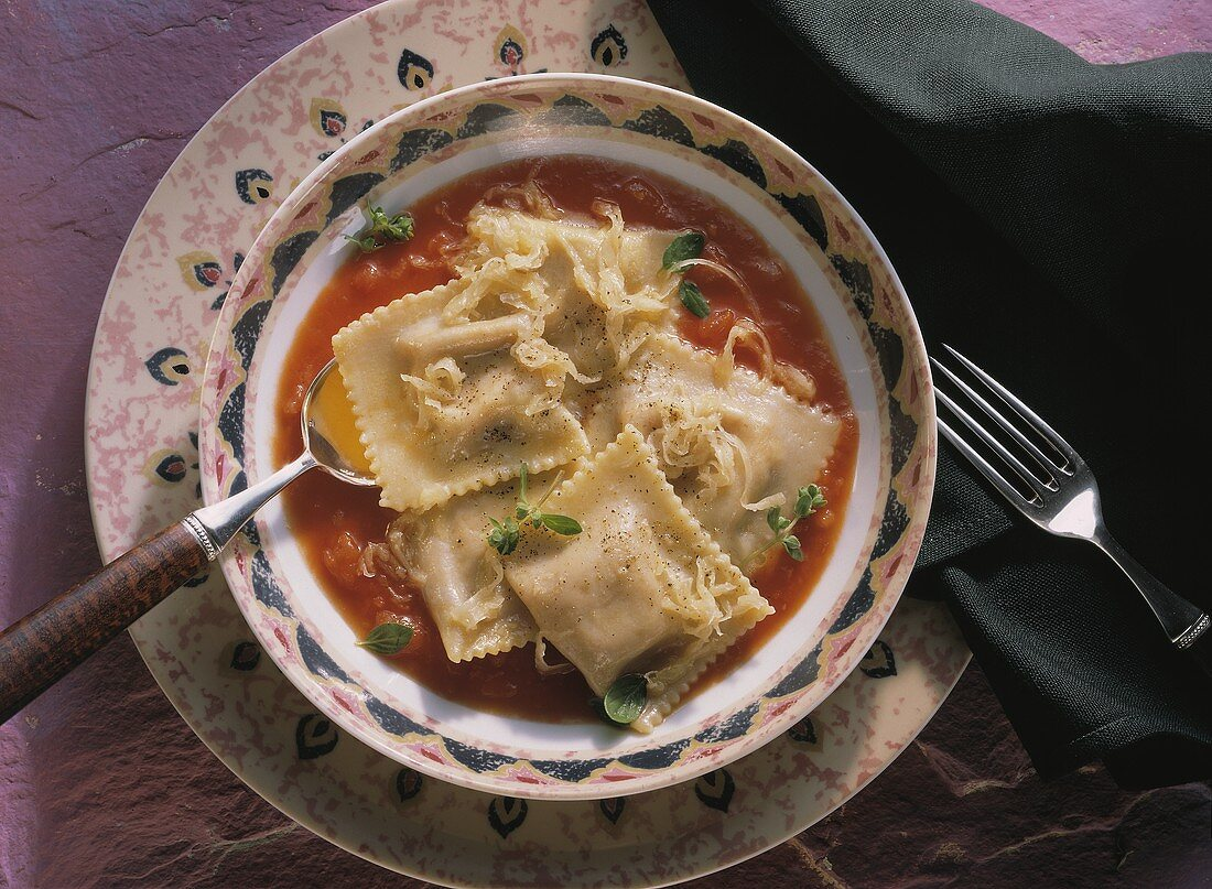 Tomato soup with filled pasta squares