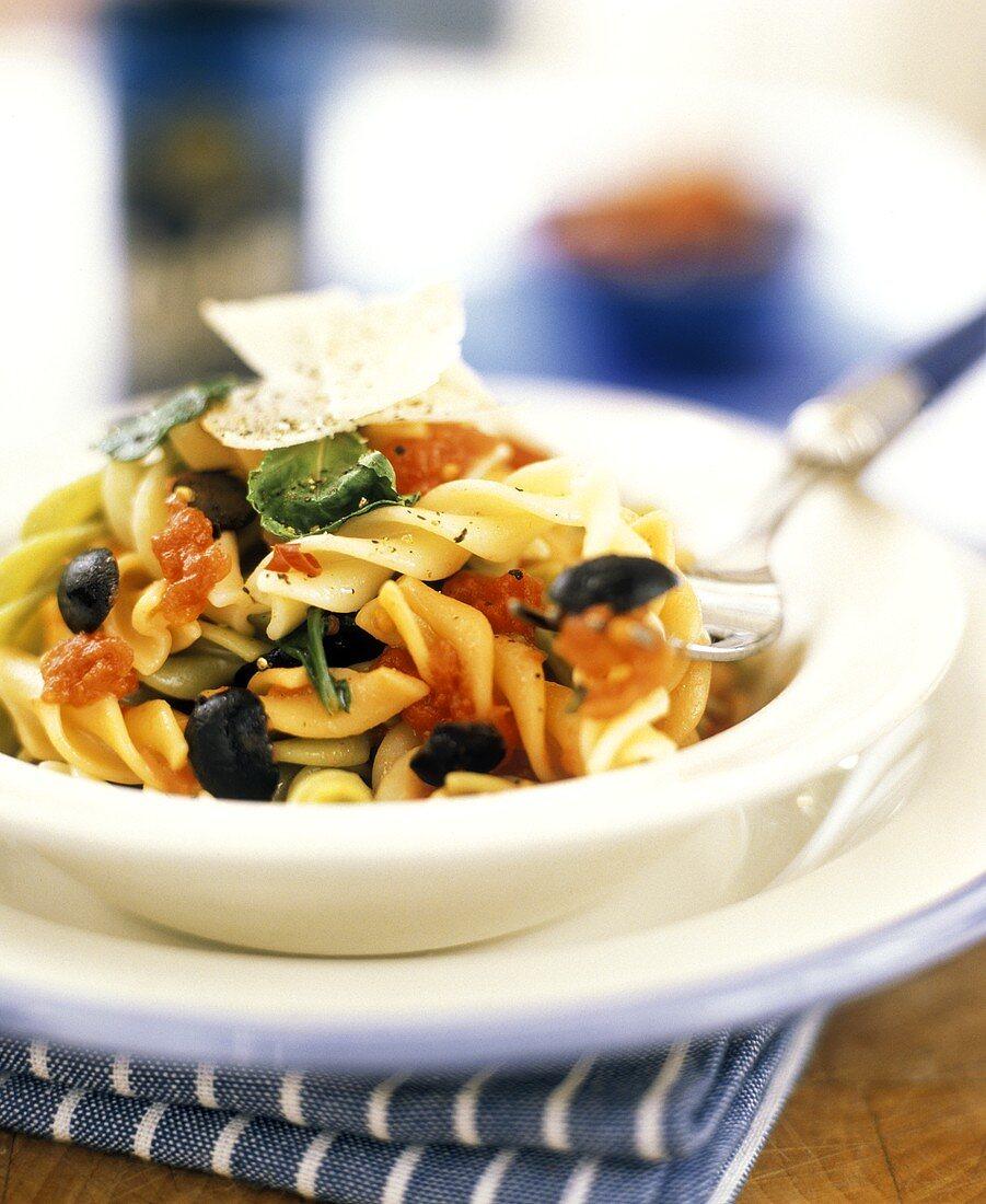 Fusilli alla cosentina (Coloured fusilli with vegetables, Italy)