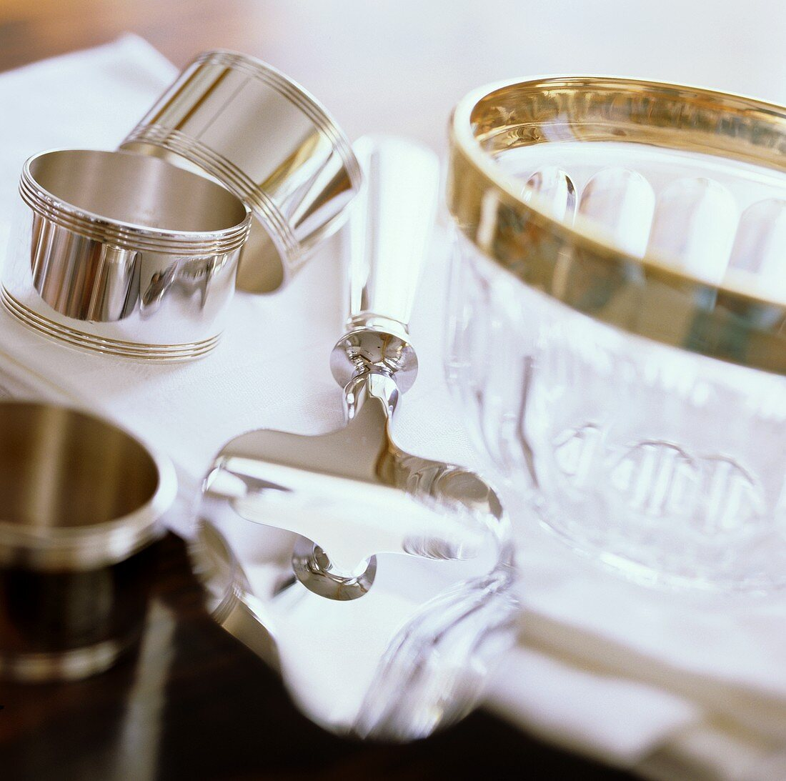 Silver truffle plane, glass bowl and napkin rings