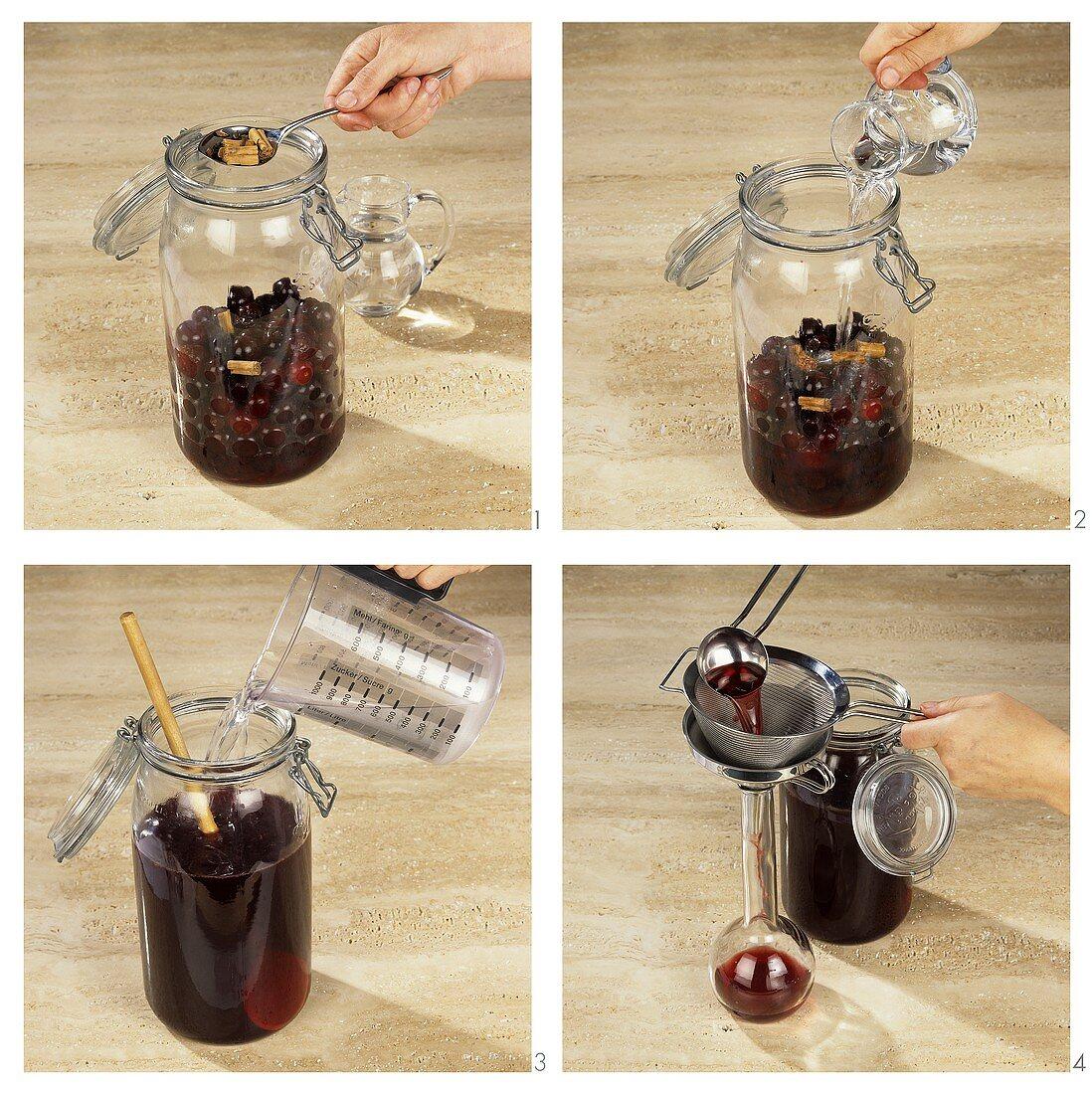 Making cherry liqueur
