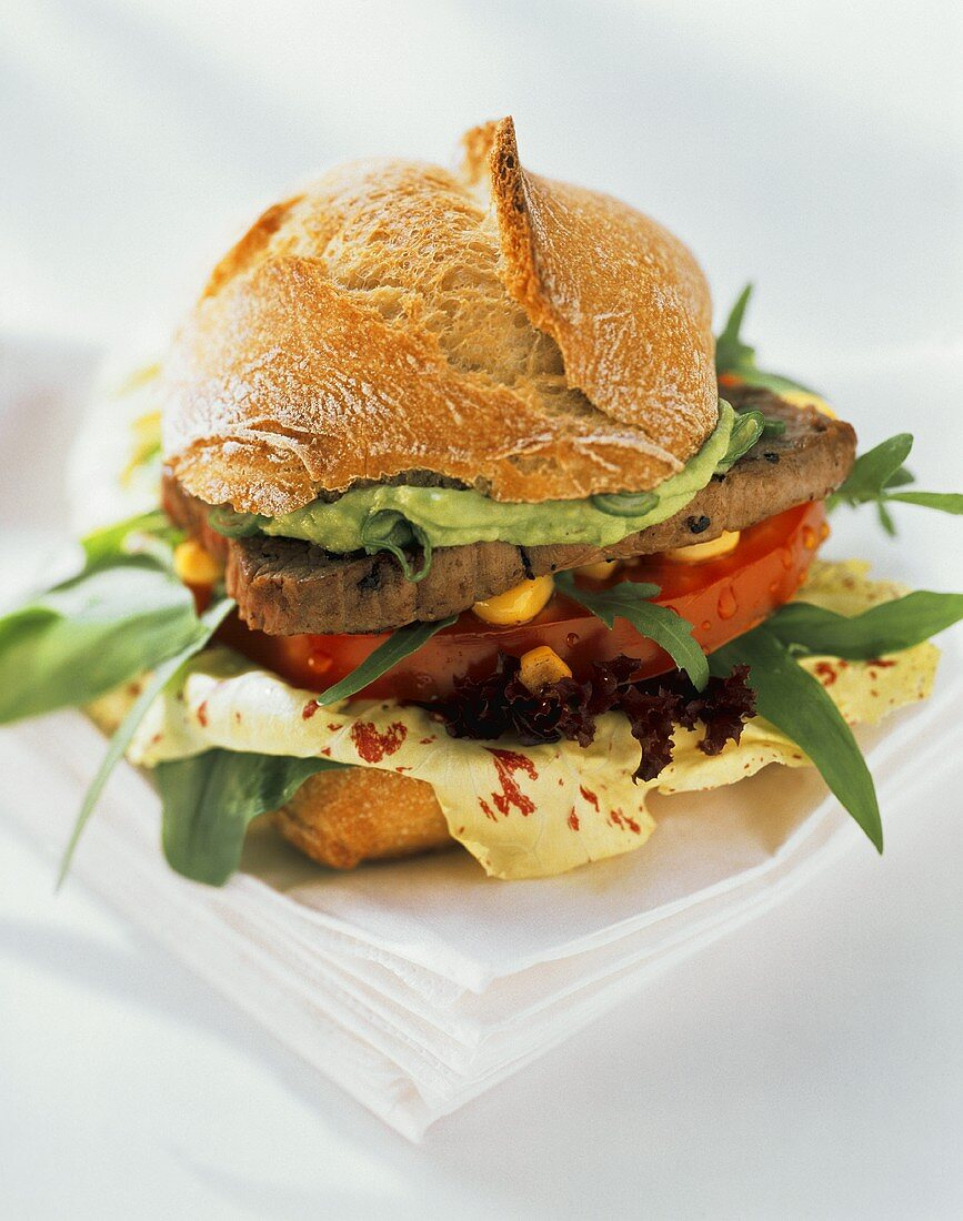 Ostrich burger (roll with ostrich meat and salad)