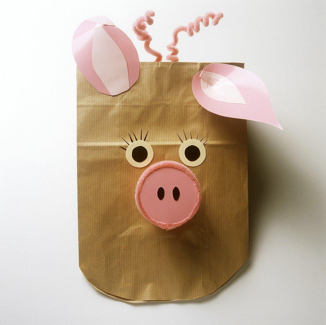 Paper animal masks for children's party: pig