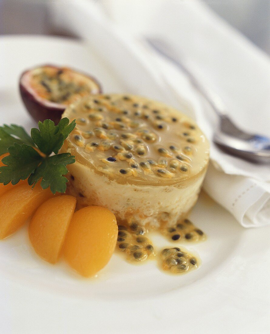 Apricot and passion fruit mousse
