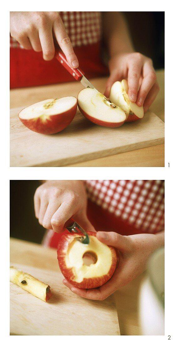 Peeling apple for apple cake