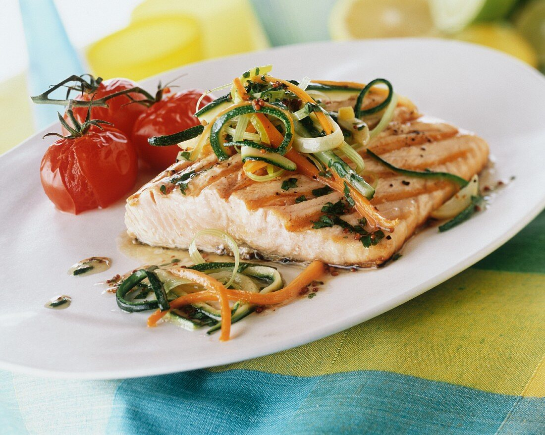 Salmon trout with julienne vegetables & tomatoes