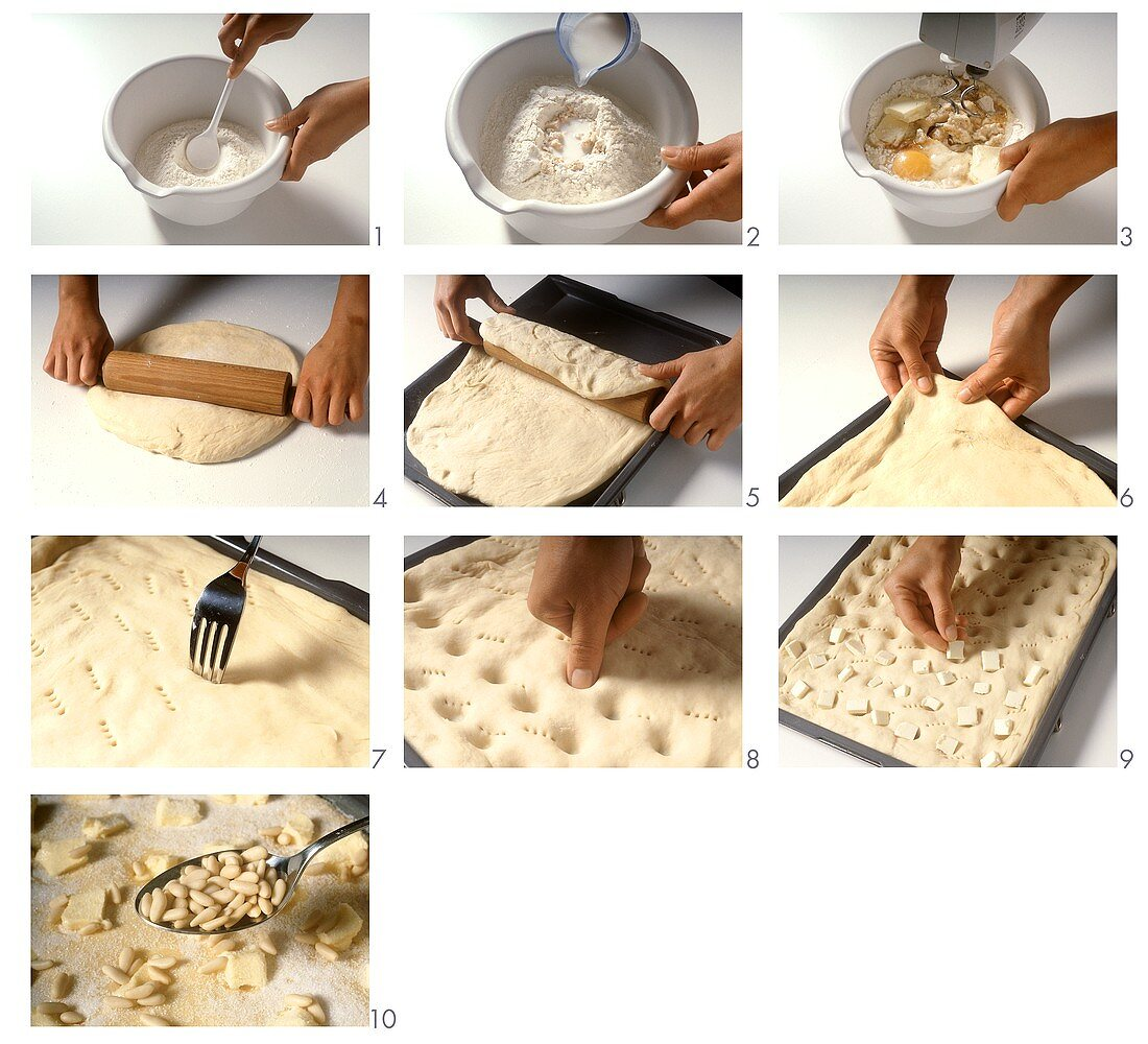 Making shortbread with pine nuts
