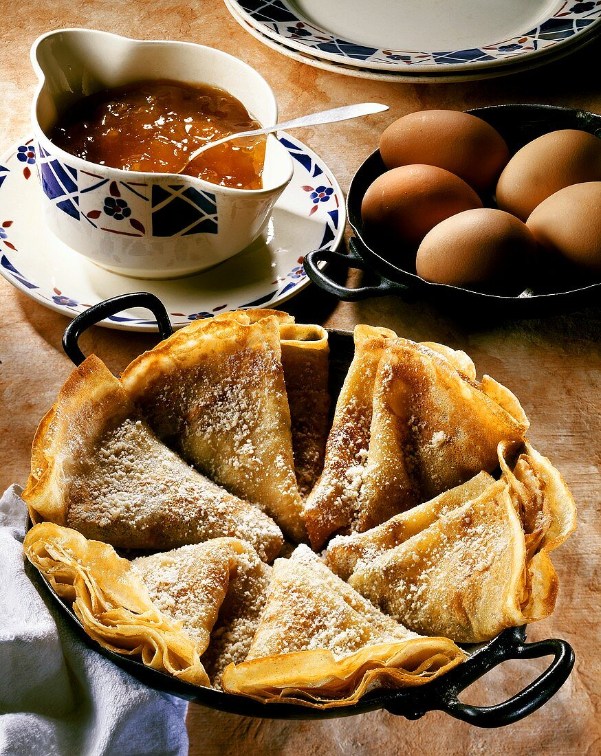Crepes filled with apricot jam