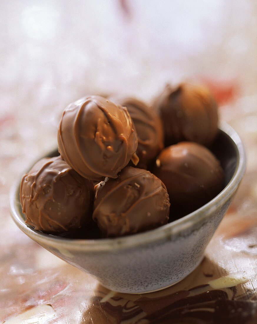 Chocolates in green bowl
